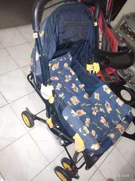 Stroller baby does monaco biru bekas terawat