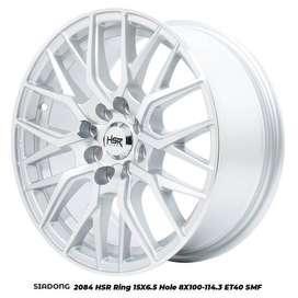 pelek Mobil Ring 15 Lubang 4 SIADONG HSR silver Polish