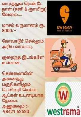 Wanted food delivery executives in Avadi
