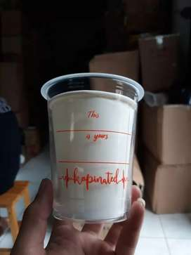 Sablon gelas plastik plus logo CUP PP 12oz 7gram