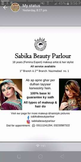 all beauty parlour home services u can call us at home for services