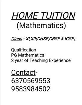 Home tuition for XI, XII mathematics students