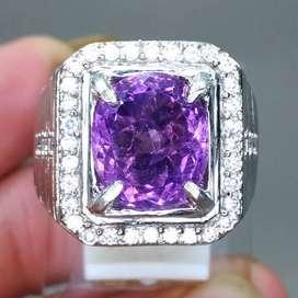Cincin Batu Akik Kecubung Purple Amatis Cutting Oval