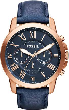 Fossil Men's FS4835 Grant Chronograph Leather Watch-Rose Gold-Tone and