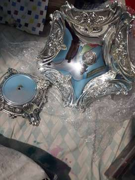 Antique style flower bowl with stand..white mefal with silver polish
