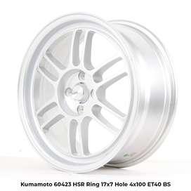 menjual velg KUMAMOTO 60423 HSR R17X7 H4x100 ET40 SILVER