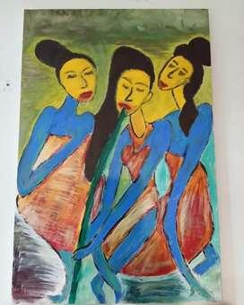 Lukisan 3 Bidadari karya Pelukis surabaya Cak Son