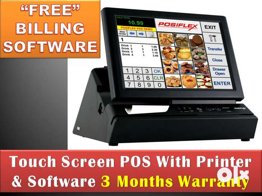 TOUCH SCREEN POS BILLING MACHINE WITH SOFTWARE & PRINTER & CARD SWIPE