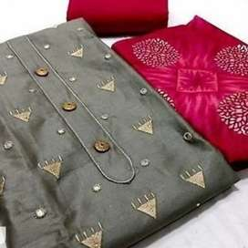 Festive cotton satin embroided with button  dress material