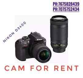 Nikon d 3400 cam for rent