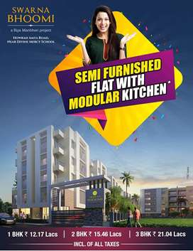 3BHK Semi Furnished Flat With Modular Kitchen - Only 21 Lacs Onward