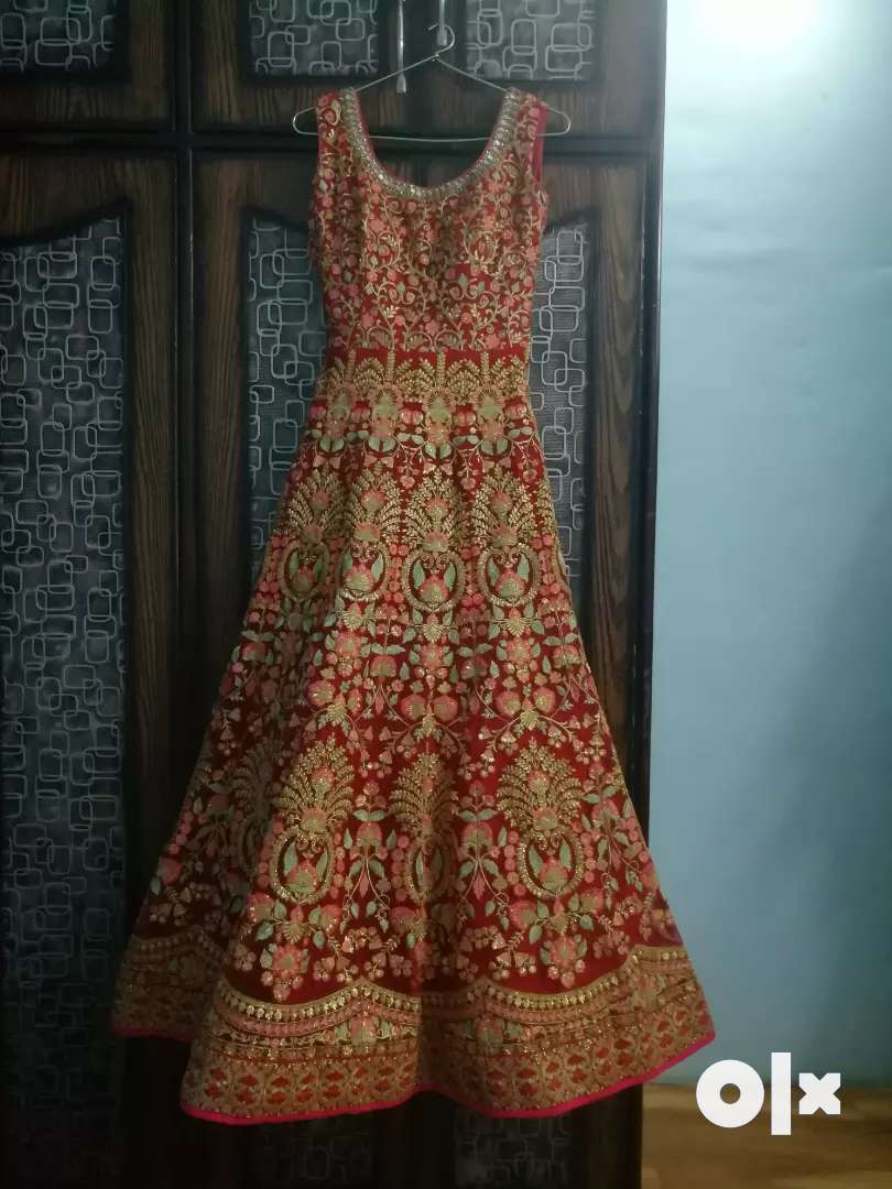 Red bridal embroidered Gown with dupatta