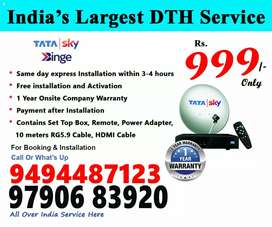 Tata sky DTH connection with least price for 999 only come on frds