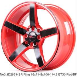 velg model NE3 JD265 HSR R16X7 H8X100-114,3 ET30 RED/BLACK FACE