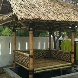 Saung bambu siap rakit - gazebo bambu - rumah bambu