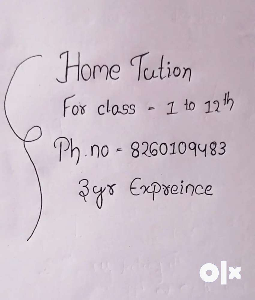 Home Tution .For class 1 too 12th