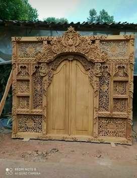 Pintu rumah model Bali kayu jati ful ukir