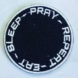 Emblem patch bordir eat sleep pray