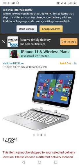 Excellent  HP touchscreen Laptop with detachable screen Tablet !