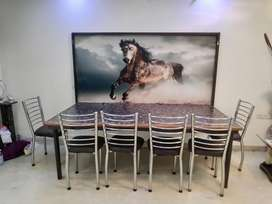 WALL MOUNTED FOLDING DINING TABLE WITH 7 CHAIRS