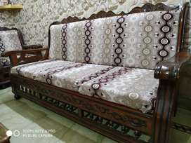 Sofa set + wooden table + double bed + dining table