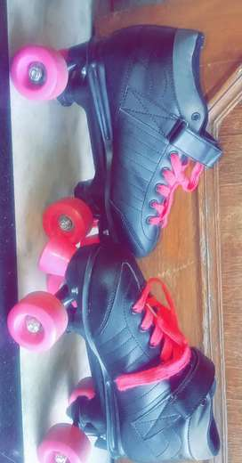 Pink and Black Roller Skates with Bag