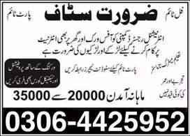 Jobs for males, females (Part time, Full time, Home Based Online Job)