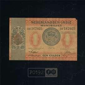 F192 Uang Kuno Pecahan 1 Gulden Seri Muntbiljet Tahun 1940