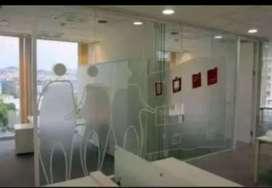 Membantu berikan ide kreatif pada ruangan dg stiker sanblas&kaca film