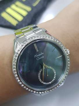 Jam tangan Alexandre christie AC2715 Silver plat pearl shiny