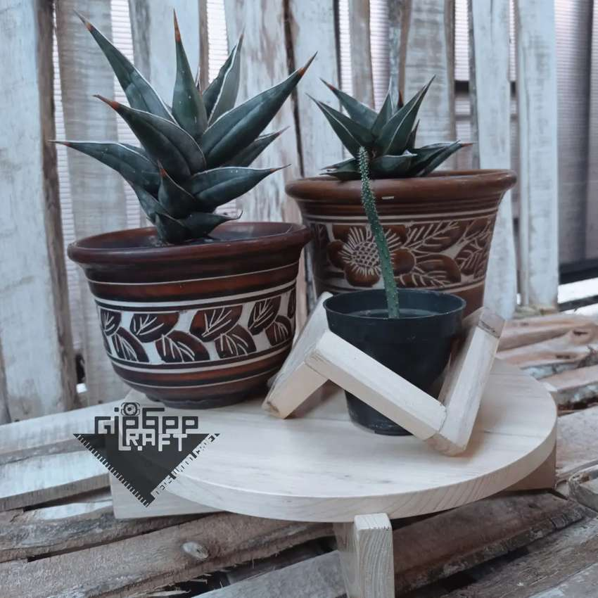 [Giegee Craft] Tatakan Pot Kayu Jati Belanda / Wooden Placemat 0