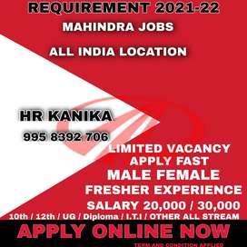 OFFICE WORK JOBS IN MAHINDRA MOTORS ALL INDIA LOCATIONS  Job vacancy i