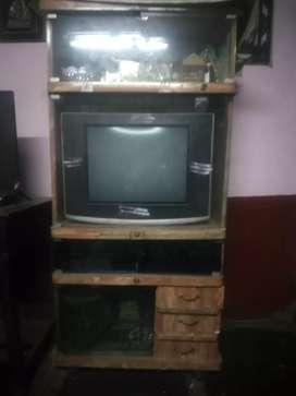 TV, TV stand, sun direct dish and setof box