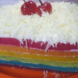 Rainbow cake keju - Kue pelangi keju - Tart lapis keju