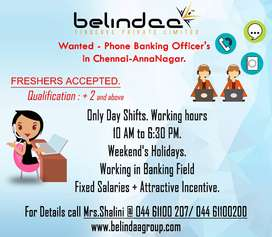 Wanted Phone Banking Officer - Chennai,Anna Nagar - Freshers Accepted