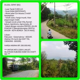 Lahan SHM 9004 m2 Murah dg View indah, 35 menit dr TOL CIBINONG-BOGOR.