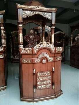 mimbar masjid gendong kayu jati