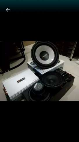 Paket audio subwoofer sansui, split fonalivo 2way& power tenfox**