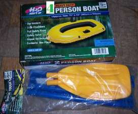 "H2O HEAVY DUTY 2-PERSON BOAT INFLATABLE BOAT 112"" X 48"" 4 oars"