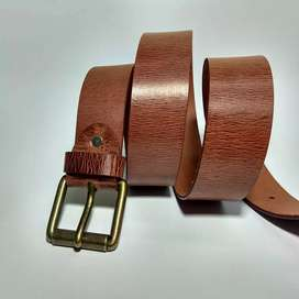 Genuine Luxury Leather Belt with Brass Pin Buckle