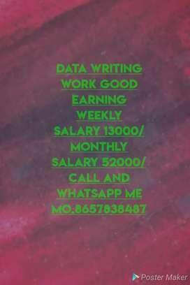 Hand writing Job weekly salary 13000/