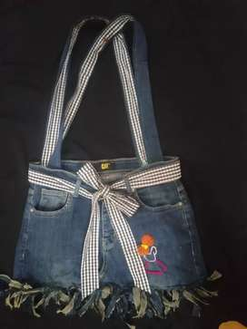 Handmade jeans bag for girls