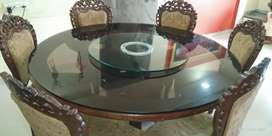 Carving round dining table n sofa