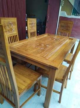 meja makan kursi 6 kayu jati jepara