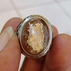 Natural Batu Cincin Gambar Kepompong Ulat Sutra