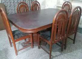 Urgent Sale (Golden Offer) Dining Table with 06 Chairs SOLID WOOD.