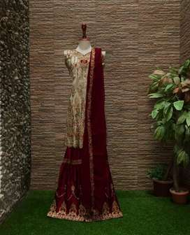 STUNNING 3PCs HANDMADE EID/ PARTY/ BRIDAL WEAR AND SHARARA (one size)
