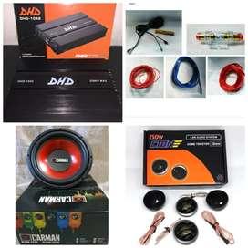 """Paket audio power 4ch + subwoofer 12"""" + tweeter cton + box dan pasang"""