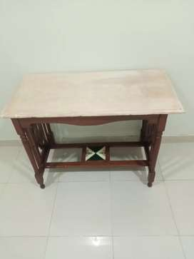 Consul with marble top in Cheek wood