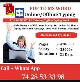 Work From Home Typing Work Opportunity